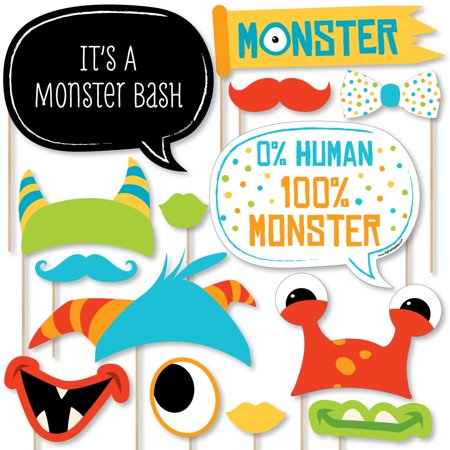 Monster Bash - Little Monster Birthday Party or Baby Shower Photo Booth Props Kit - 20 Count