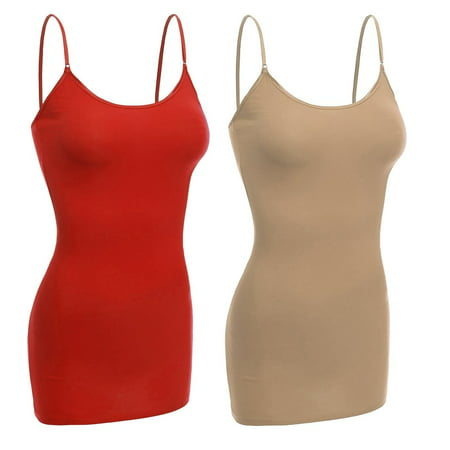 Women & Juniors Basic Layering Built in Bra Spaghetti Strap Long Cami Top Tank ()