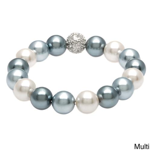 Alexa Starr Faux Pearl Stretch Bracelet with Silver and Rhinestone Fireball Accent Bead Multi