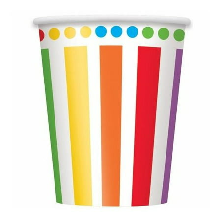 9oz Paper Party Cups, Rainbow, - Party Capes