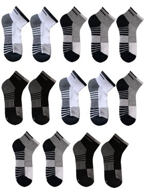 Athletic Works Boys Socks, 12+2 Bonus Pack Ankle Half Cushioned Sizes S - L
