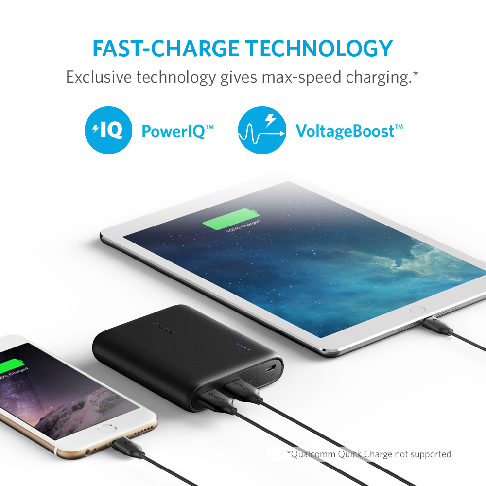 Anker Powercore 13000 Compact 13000mah 2 Port Ultra Portable Phone Eternity Charger Usb Fast Charging Power Bank With Poweriq And