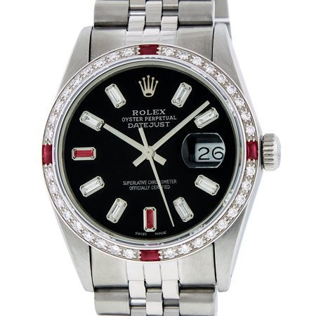 Pre-Owned Rolex Mens Datejust Steel & 18K White Gold Black Diamond & Ruby Watch Jubilee