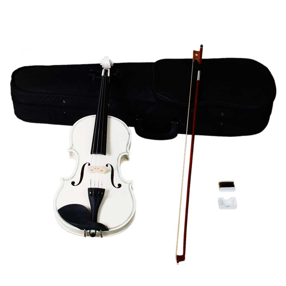Ktaxon 4/4 White Acoustic Violin Fiddle with Hard Case, Bow, Rosin Full Size for beginning