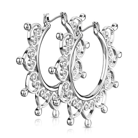 2 Inch Vintage Silver Tone Brass Heart Filigree Hoop Earrings, Surgical Steel Post