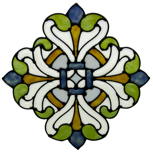 Brewster Home Fashions Medici Medallion Stained Glass Appliqu  Window Sticker