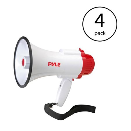 Pyle Pro Handheld Megaphone Bull Horn with Siren and Voice Recorder (4 Pack) ()