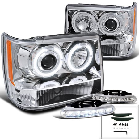 Spec-D Tuning For 1993-1996 Jeep Grand Cherokee Halo Projector Headlights + Led Bumper Fog Lamps (Left+Right) 1993 1994 1995 (2007 Jeep Grand Cherokee Fog Light Installation)