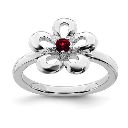 Roy Rose Jewelry Sterling Silver Stackable Expressions Garnet Flower Ring Size 7 Scroll Flower Silver Ring Jewelry