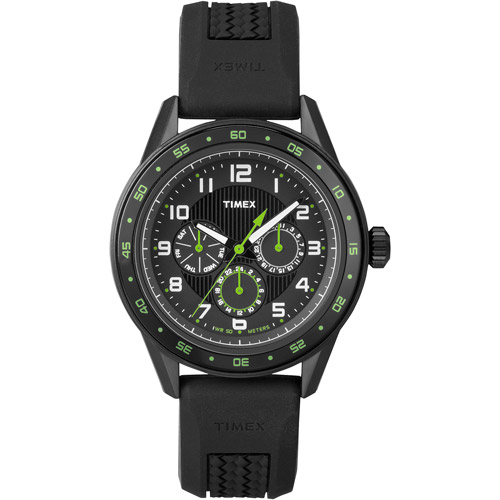 Timex Men's Fashion Multifunction Black Dial Watch, Black Strap