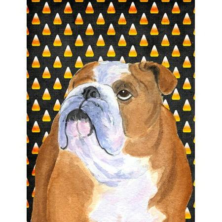 Bulldog English Candy Corn Halloween Portrait Flag
