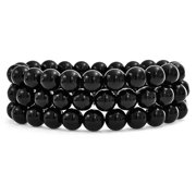 Set Of 3 Gemstone Black Onyx Round Bead 8MM Stretch Bracelet for Women Teen for Men Multi Strand Stackable Adjustable