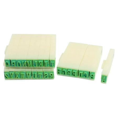 Unique Bargains 26 Letters Plastic Rubber Detachable Alphabet Stamp Educational Students Stationery Green Beige Letter Rubber Stamp