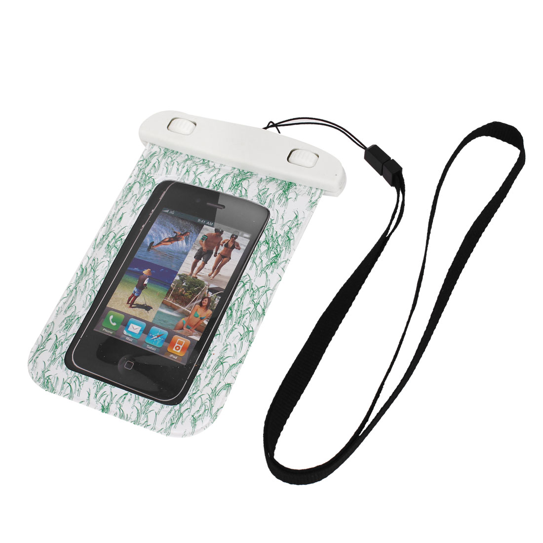 Unique Bargains Waterproof Swimming Pouch Bag Case Green for 4  Cell Phone w Neck Strap