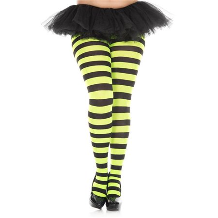 Music Legs 7419Q-BLACK-NGREEN Plus Size Wide Striped Tights - Black & Neon Green - Green Black Striped Tights