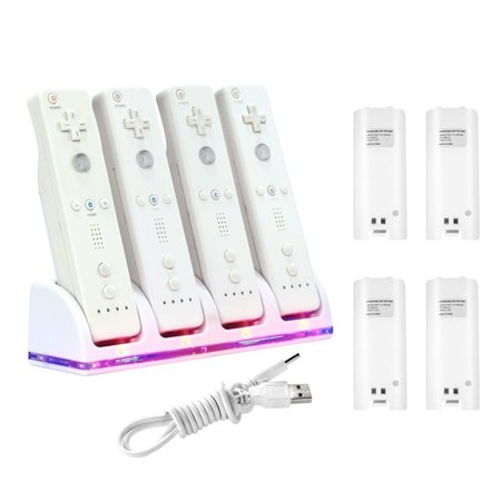 Insten Dock Charge Station Cradle Charger with Rechargeable Battery For Nintendo Wii Remote (Wii Remote Charging Stand)