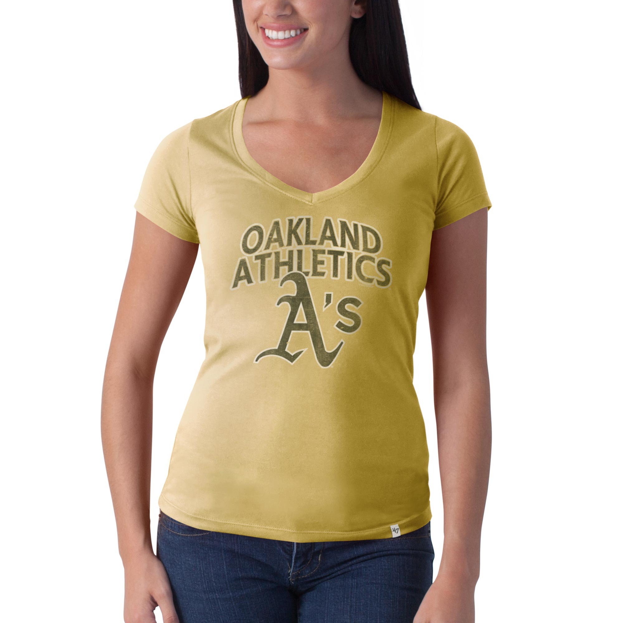 Oakland Athletics '47 Women's Flanker Logo V-Neck T-Shirt - Gold