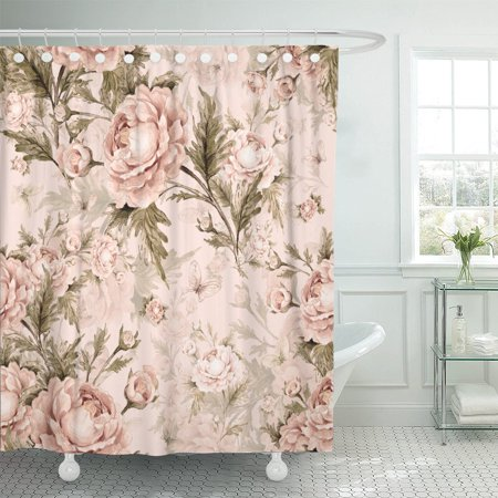 Exquisite Rose (PKNMT Watercolor Pattern Roses and Butterflies V Beautiful Exquisite Polyester Shower Curtain 60x72 inches)