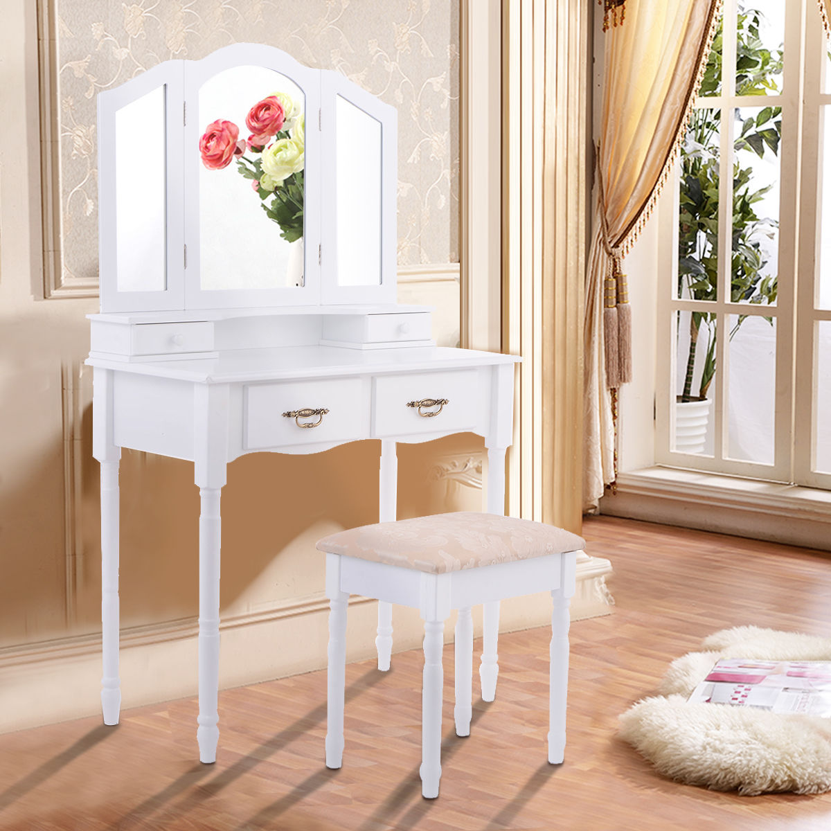 Costway White Tri Folding Mirror Vanity Makeup Table Stool Set Home Furni W 4 Drawers by Costway
