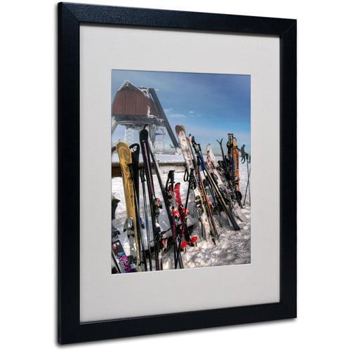 "Trademark Fine Art ""Ski Gear"" by Lois Bryan, Black Frame"