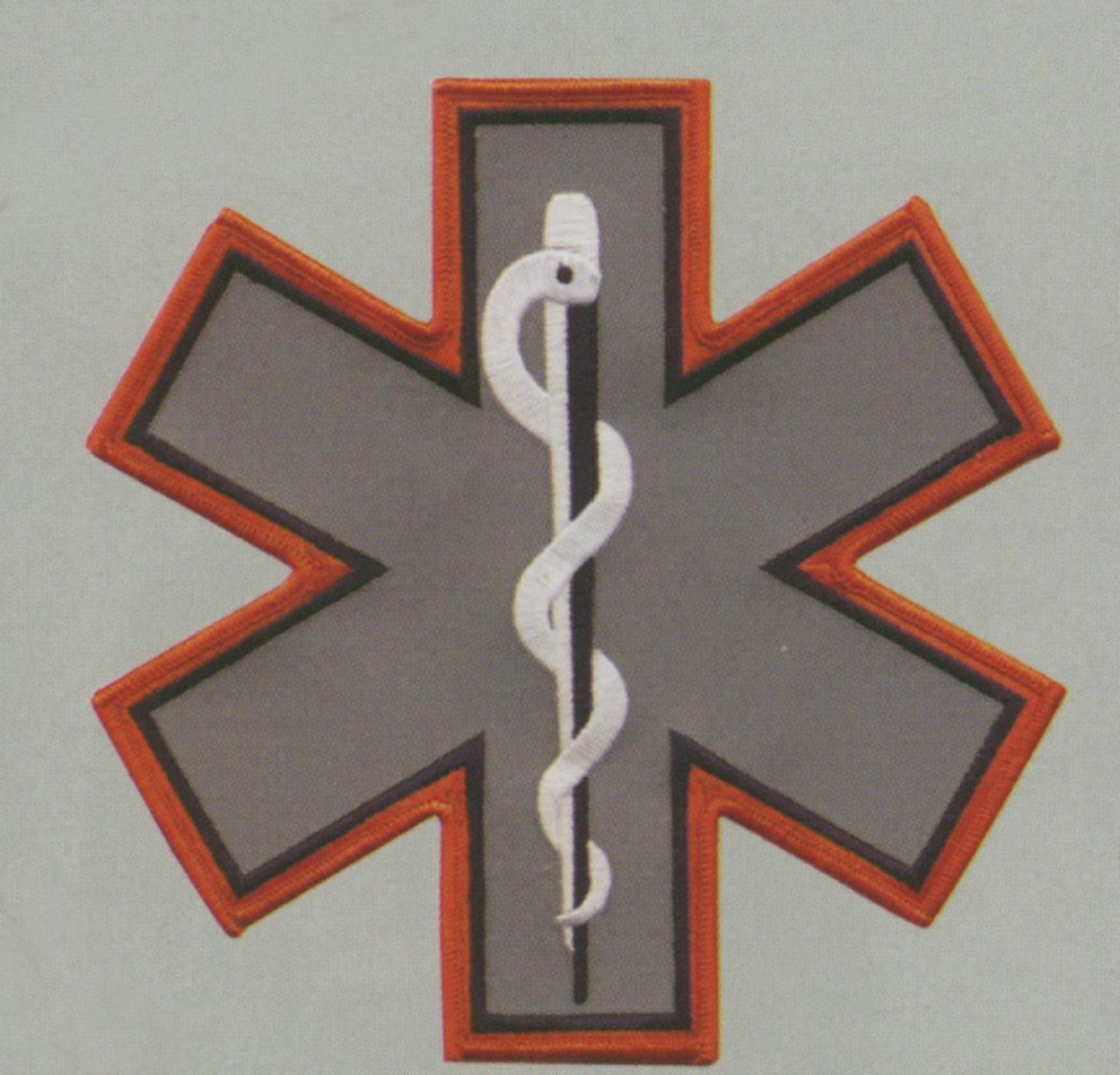 EMT EMS Paramedic Orange Border Reflective Star of Life L...