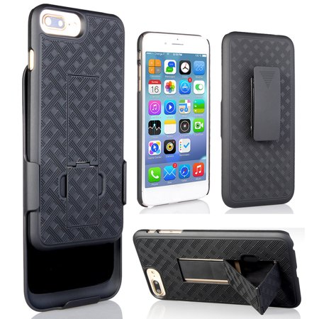 promo code 3b532 d99cd iPHONE 7/8 PLUS BELT CLIP CASE, NAKEDCELLPHONE'S BLACK RUBBERIZED KICKSTAND  CASE COVER + BELT CLIP HOLSTER STAND FOR APPLE iPHONE 7/8 PLUS (5.5