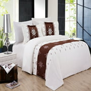Soft 100% Brushed Microfiber 3 Piece Duvet Cover Set Embroidered - Full/Queen - Eleanor