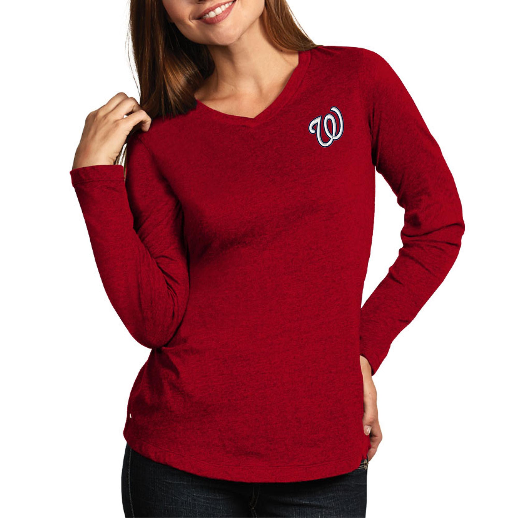 Washington Nationals Antigua Women's Flip Long Sleeve T-Shirt - Heather Red
