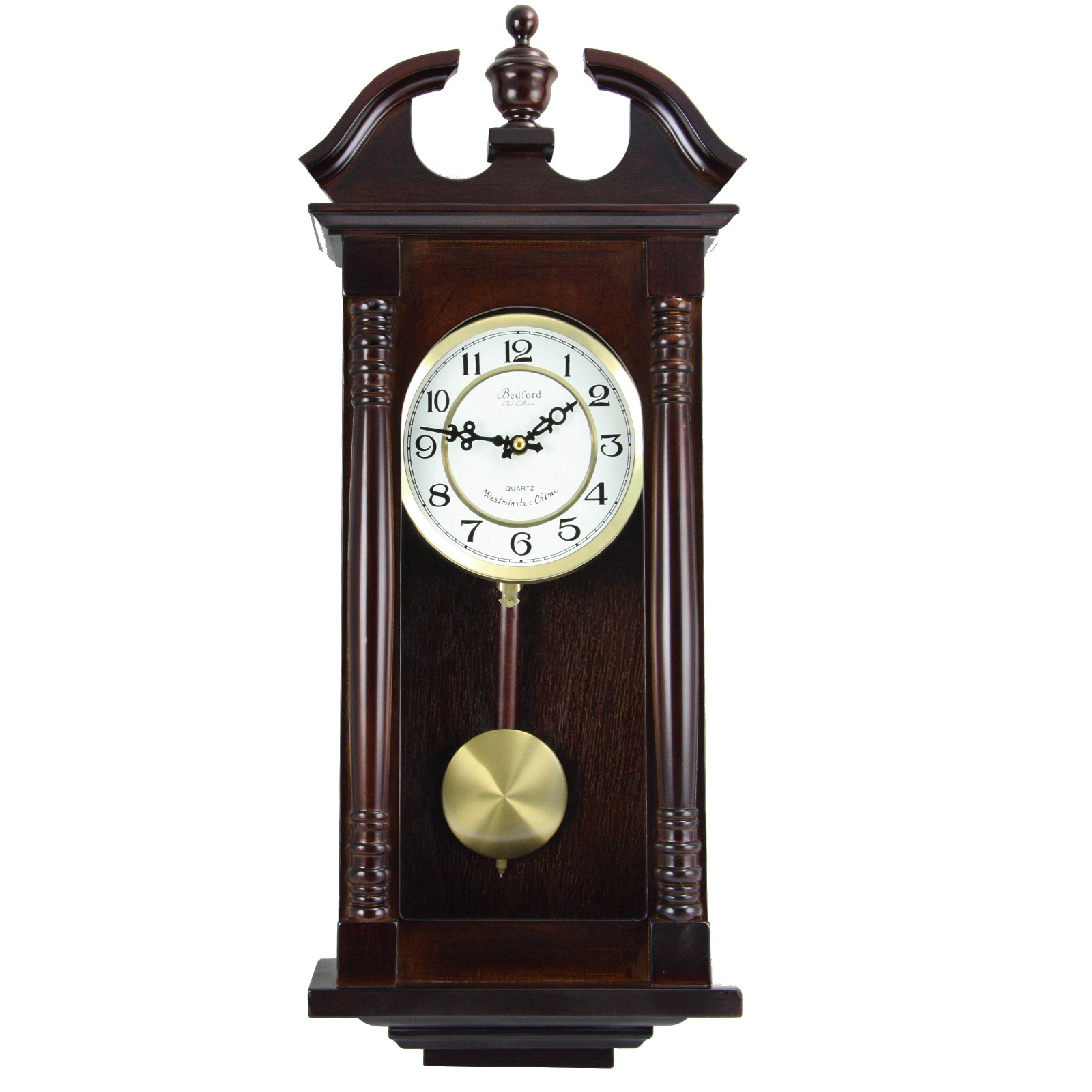 "Bedford Clock Collection 27.5"" Classic Chiming Wall Clock With Swinging Pendulum in... by Bedford Clock Collection"