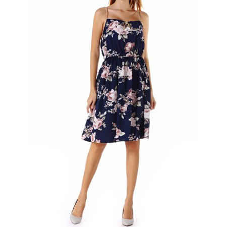 Prince Slip (Women's Spaghetti Strappy Dresses O-Neck Plus Size(S/5XL) Tank Tops Knee-Length Slip Swing Dress Floral Printed Bodycon)