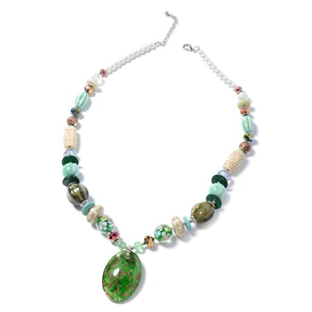 Oval Murano Millefiori Glass Pendant with Beads Necklace for Women 30