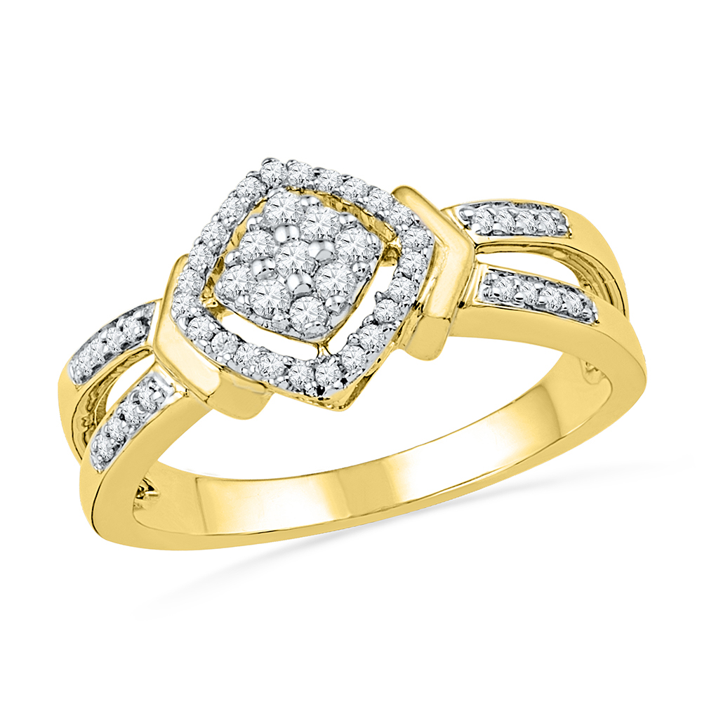 10kt Yellow Gold Womens Round Diamond Square Cluster Ring (.25 cttw.)