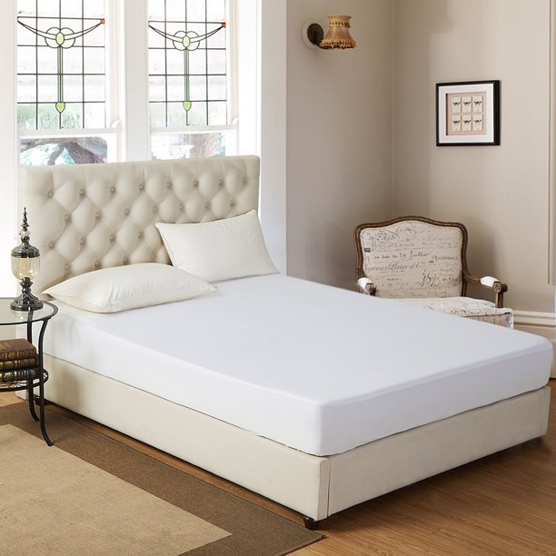 Bed Bug Resistant & Waterproof Mattress Protector,Super Soft Quiet- Twin/Full/Queen/King Size in Plain White