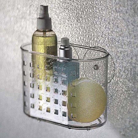 InterDesign Bathroom Shower Suction Shampoo Conditioner Organizer  Basket  Clear. InterDesign Bathroom Shower Suction Shampoo Conditioner Organizer
