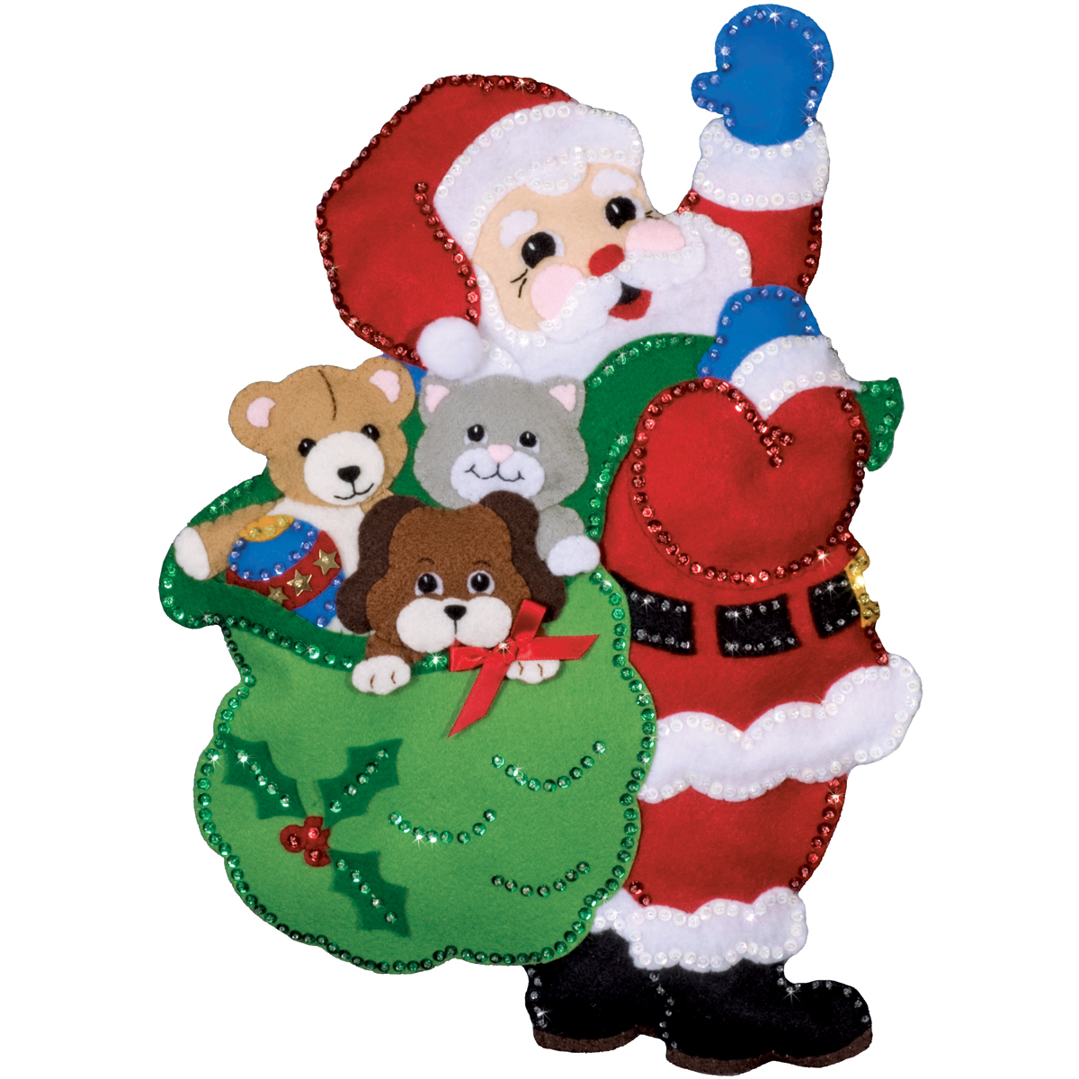 Design Works Felt Applique Kit, Santa with Friends