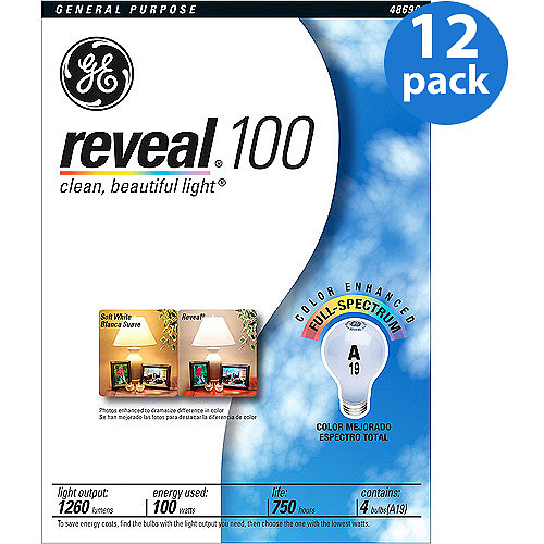 GE 48690 Reveal Light Bulbs, 100 Watt, Neodymium Coated>