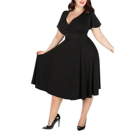 9e0bb77460f Fashion Women Big Plus Size Dress Sexy Ladies V-neck Burgundy Bubble ...