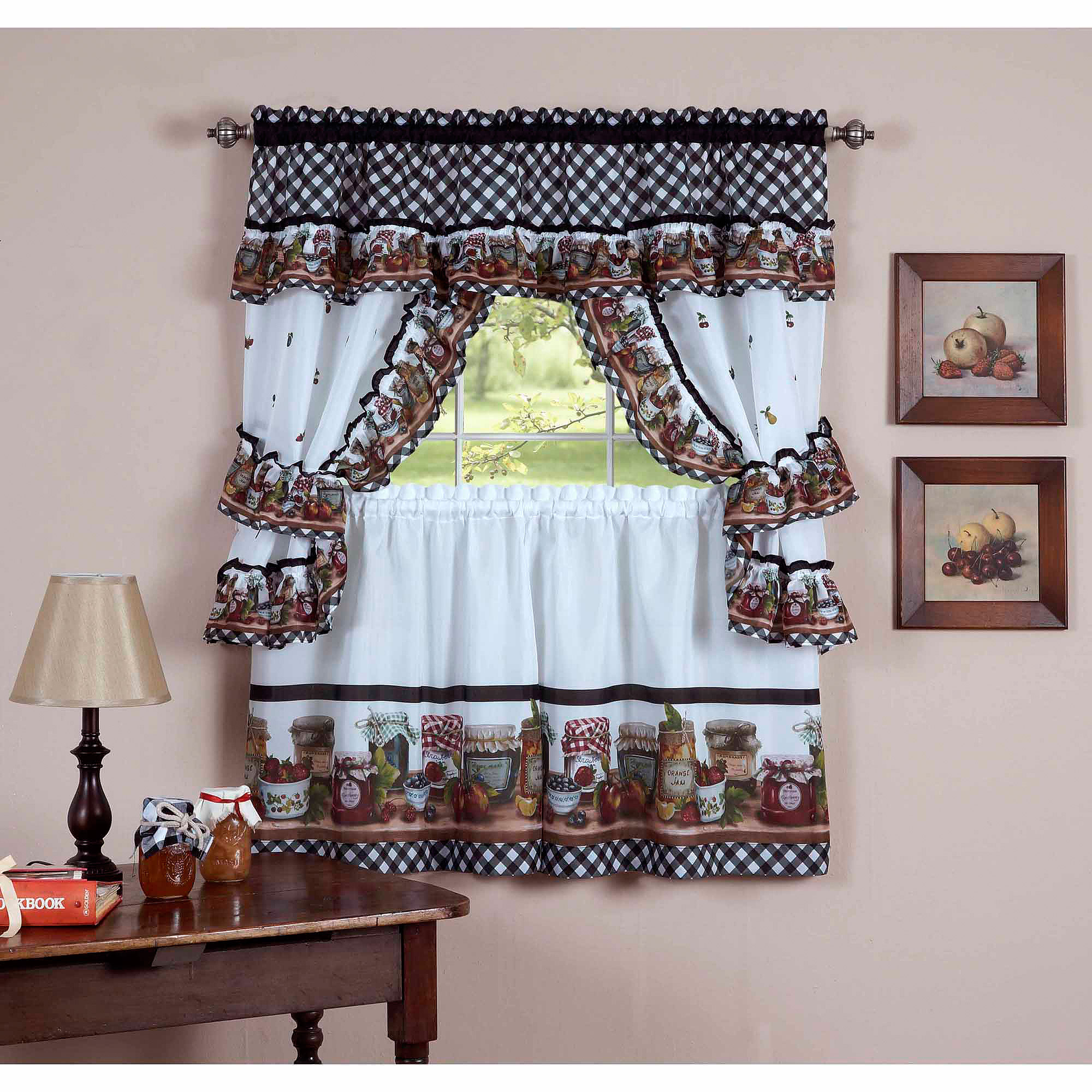 Achim cottage kitchen curtain tier set mason jars design walmart com