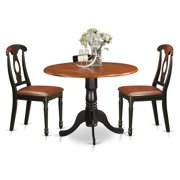 East West Furniture Dublin 3 Piece Drop Leaf Dining Table Set with Kenley Faux Leather Seat Chairs