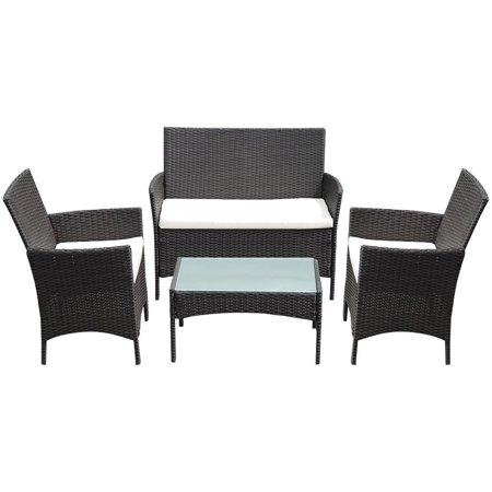 GHP Set Of 4 Dark Brown PE Rattan Waterproof Coffee Table w 2 Single Chairs & - Love Table