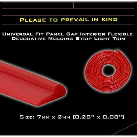 10ft Auto Interior Edge Gap Moulding Trim Door Panel Red Strip Line Decorate ()