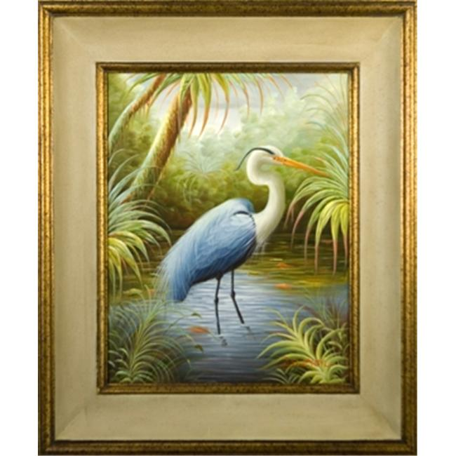 Artmasters Collection KM89745-40A Blue Heron I Framed Oil Painting