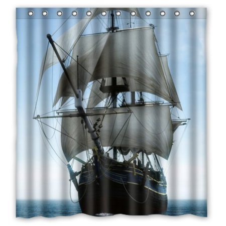 GreenDecor Durable Nautical Tall Ships Boat Sail Away Waterproof Shower Curtain Set with Hooks Bathroom Accessories Size 66x72 inches - Nautical Shower Curtain Hooks