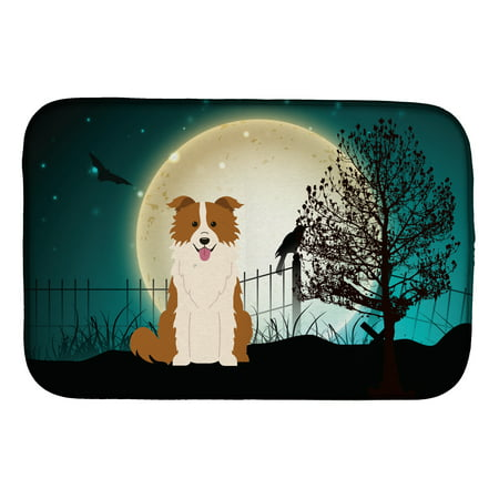 Halloween Scary Border Collie Red White Dish Drying Mat - Halloween Document Borders