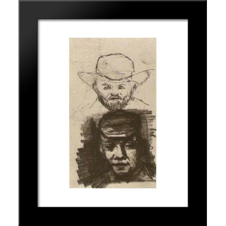 Two Heads Man with Beard and Hat Peasant with Cap 20x24 Framed Art Print by Vincent van Gogh