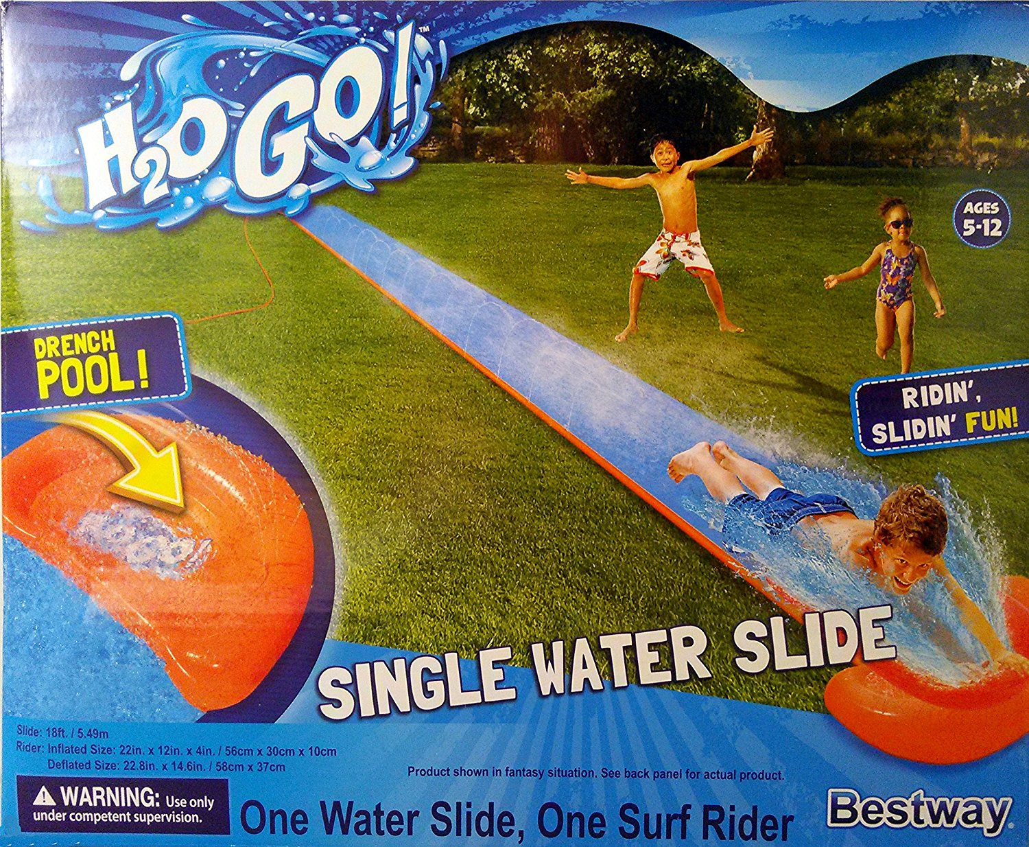 Click here to buy H2O GO! 18ft. Single Waterslide with Drench Pool and Surf Rider!, Single Waterslide includes One Surf Rider and Drench....