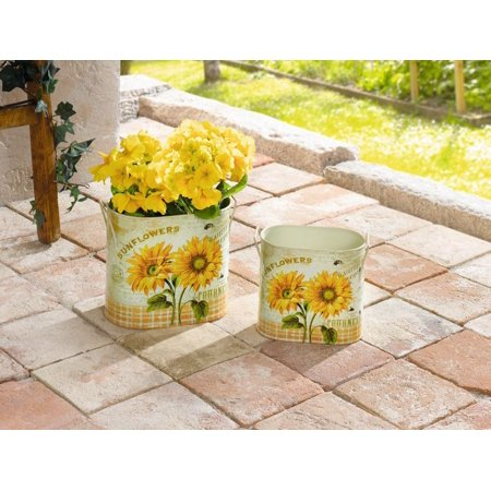 Decorative Kitchen Herb Pots Sunflower Metal Planter Containers Oval Set Of 2