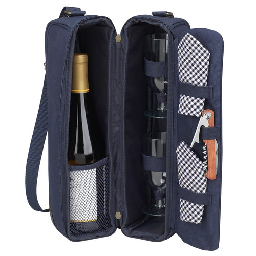 Picnic At Ascot Classic Sunset Depinot Wine Carrier for Two in Navy