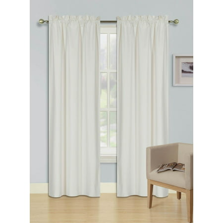 2 PANELS IVORY OFF WHITE SOLID BLACKOUT THERMAL ROD POCKET FOAM LINED WINDOW CURTAIN DRAPE R64 108 LENGTH