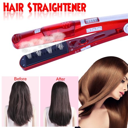 Electric Steam Hair Straightener Comb - Instant Heat Ceramic Flat Iron Wand  - LED Temperature Control Iron Brush - 5 Temperature Modes Adjustment - For Dry & Wet